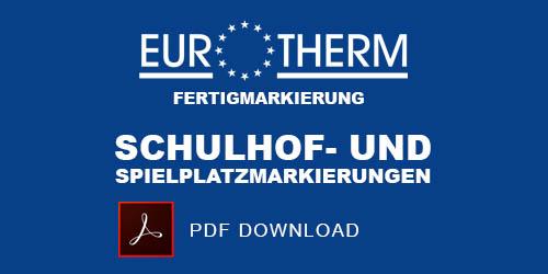 Langlebige und abriebfeste Bodenmarkierungen mit Trafix Sprühfarben und Eurotherm Fertigmarkierung.